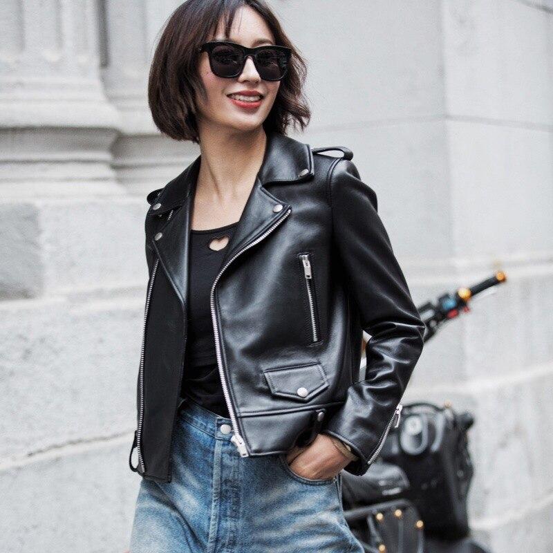Primavera jaqueta de couro genuíno das mulheres 2019 moda real pele carneiro casaco rebite motocicleta motociclista jaqueta feminina casaco de couro de ovelha