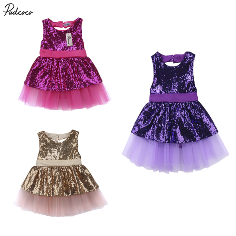 15cd75008 New Fashion Princess Kids Baby Girls Sequins Bowknot Dress Party ...