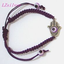 Hot ! 2pcs Hand Hamsa Pendant Lucky/Evil Eye Charm Purple String Kabbalah Fashion Bracelet SL4062