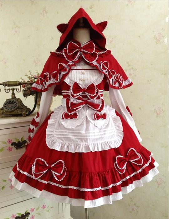 Doux Lolita mignon arc petit chaperon rouge robes médiévale conte de fées robe en coton robe victorienne style d'été