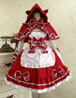 Sweet Lolita Cute bow Little Red Riding Hood Dresses Medieval fairy tale Cotton Dress victorian dress summer style