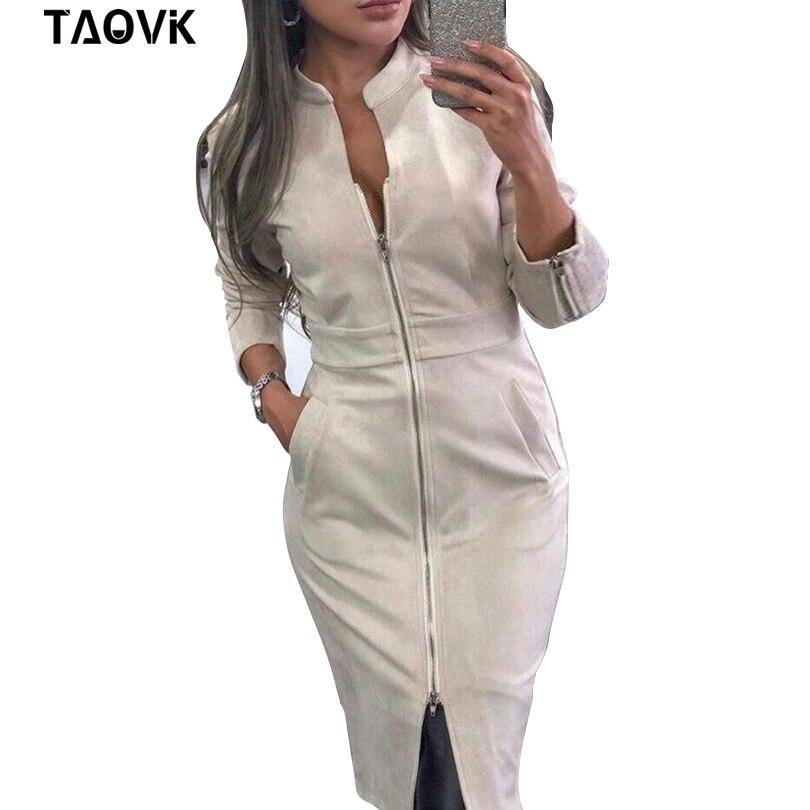 TAOVK High Street Suede Платье женское с длинным рукавом Bodycon платье с молнией винтажный воротник стойка офисные женские платья