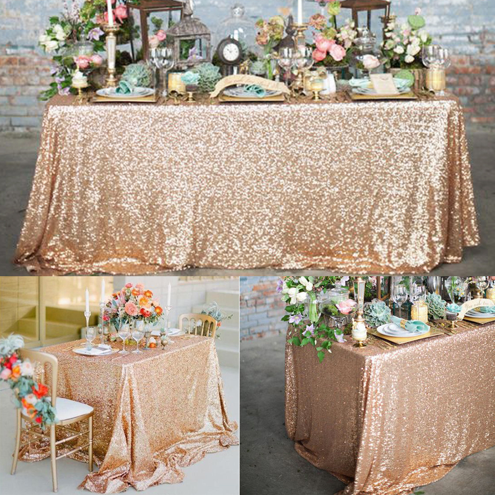 Rose Gold Sequin Tablecloth Glitter Round Rectangular Embroidered Sequin Table Cloth For Wedding Cake Party Christmas Decoration moulin à sel et poivre