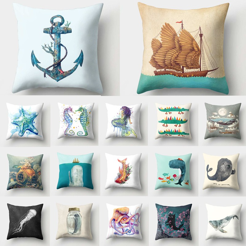 1Pcs Mermaid Ocean Anchor Pattern Polyester Throw Pillow Cushion Cover Car Home Decoration Sofa Bed Decorative Pillowcase 40517