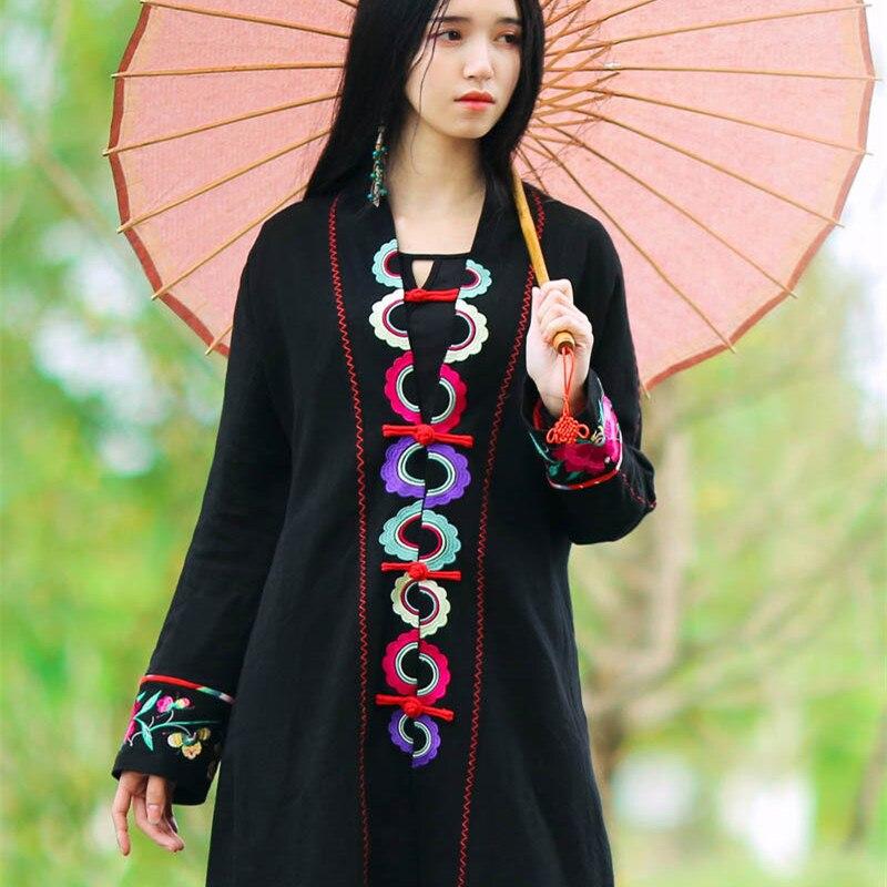 1c938df8272 BOHOCHIC Original Vintage Ethnic Embroidery Turkey Female Clothes Cotton Linen  Bohemian Women Long Black Coat AZ0440C Boho Chic-in Trench from Women s ...
