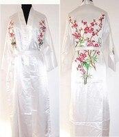 White Chinese Women's Silk Satin Robe Embroidery Kimono Gown Flower S M L XL XXL XXXL Free Shipping MR 023