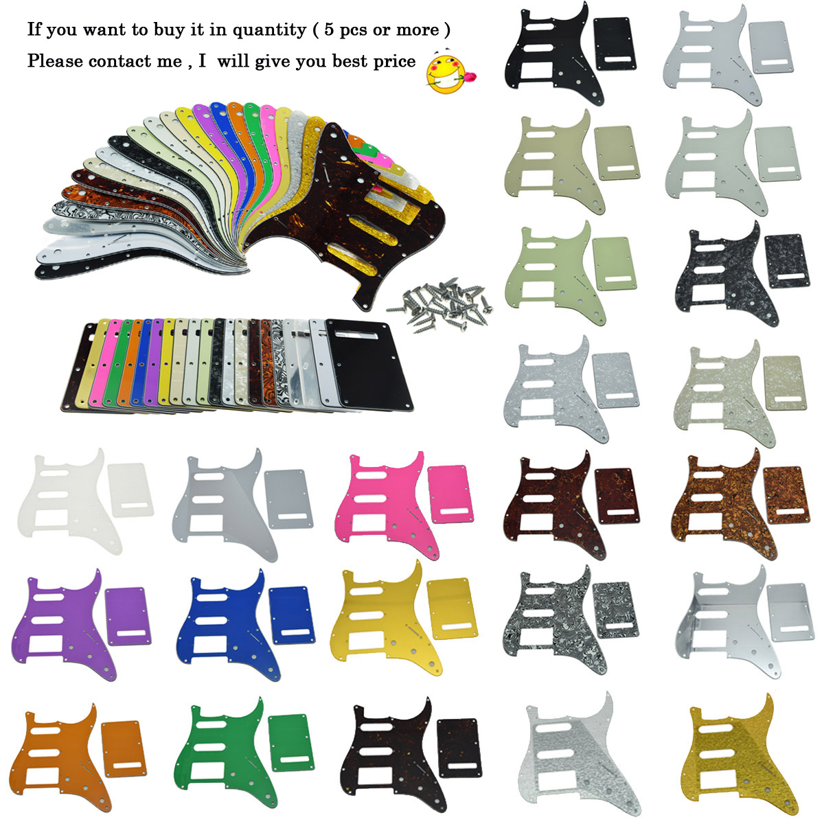 Dopro ST Style HSS Guitar Pickguard Scratch Plate,Trem Cover, Screws Various colors musiclily 3ply pvc outline pickguard for fenderstrat st guitar custom