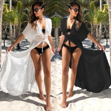 Womens Cotton Kimono Cardigan Lace Long Maxi Beach Dress Bikini Covers Up