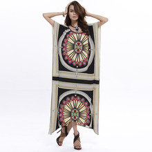 цена на National Dress Indian Women Loose Tribal Print Maxi Dress Batwing Sleeve Irregular Hem Clothing Women Vestidos