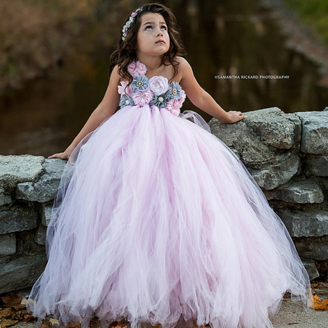 Pink and Grey Flower Girl Tutu Dress Wedding Tulle Dress Girls Wedding Dresses Robe Demoiselle D'honneur Rose Fille Kids Dress