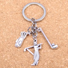 20pcs New Fashion DIY Keychain golf golfer  Pendants Men Jewelry Car Key Chain Souvenir For Gift