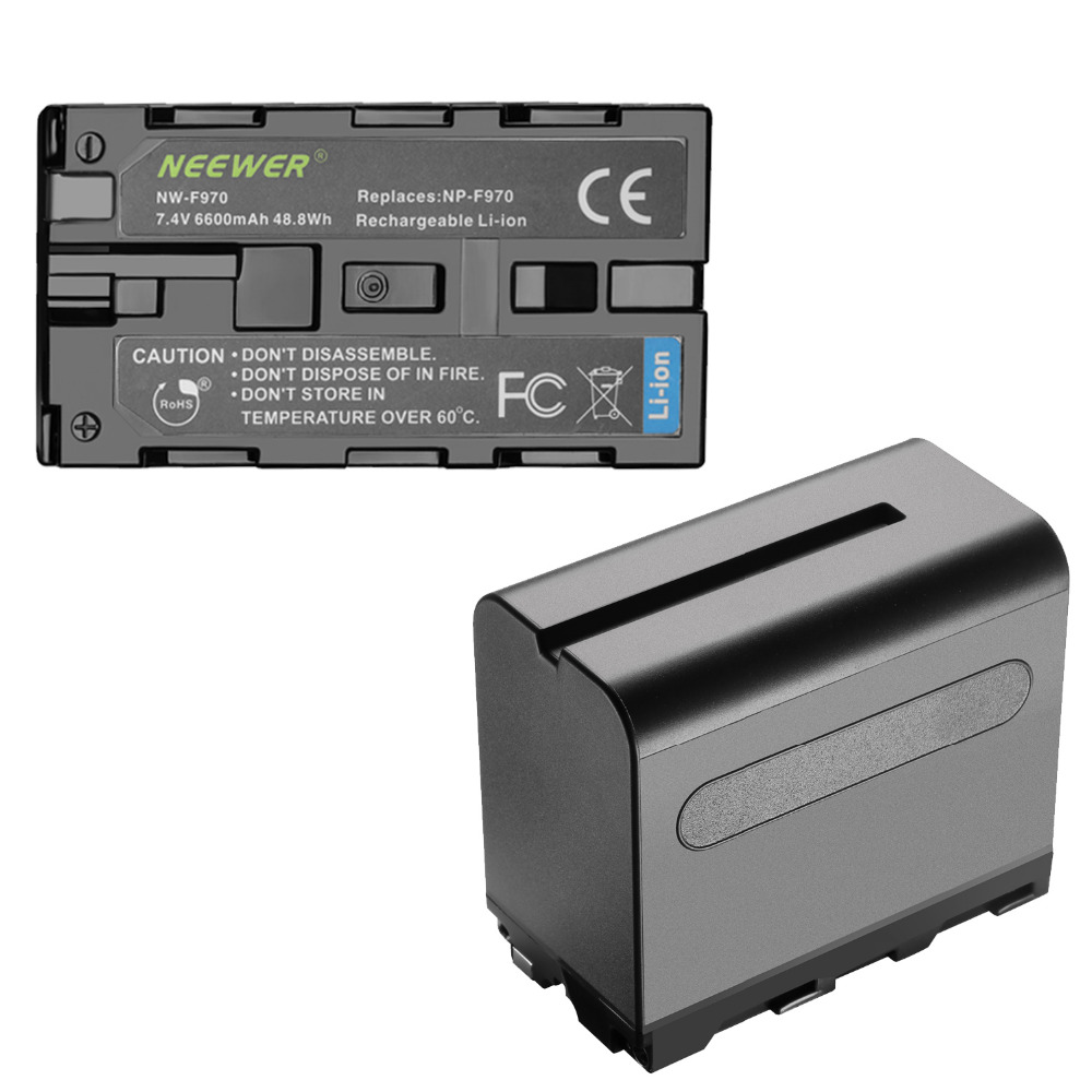 Neewer 2 Pack 6600mAh Li ion Replacement Battery with USB Charger for Sony NP F550 570 750 770 970 960 975 Sony Handycams Chargers     - title=