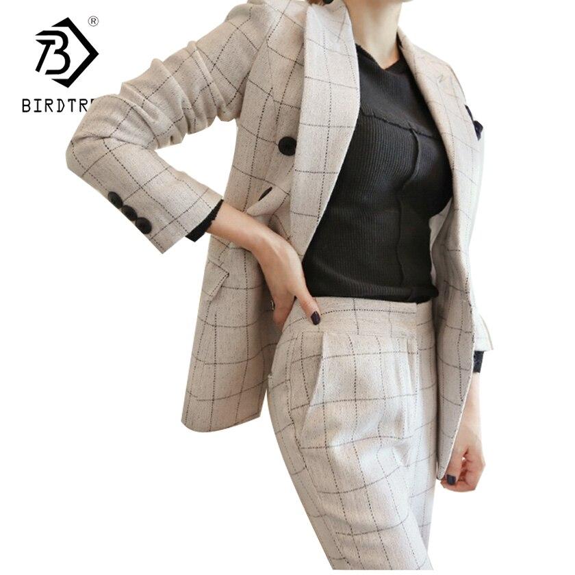 Офисные брюки и куртки 2 шт. Для женщин Блейзер костюм 2018 осень Винтаж белый плед Бизнес костюмы для торжественных случаев для Для женщин ...