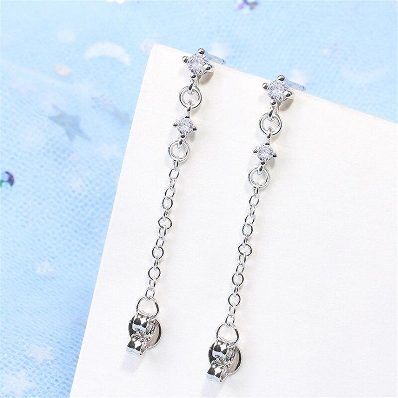 2019 new korean fashion cubic zircon long tassel drop earrings luxury crystal geometric summer 2019 women's earring bts SE667.01