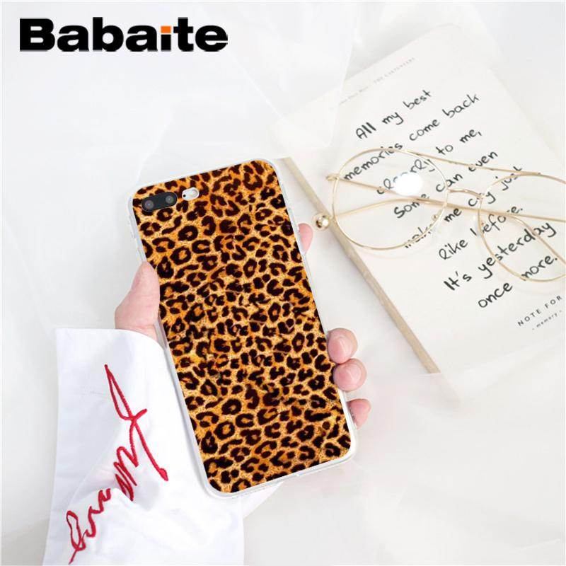 , Babaite Leopard Soft Silicone TPU Phone Accessories Cover for iPhone 8 7 6 6S Plus X XS MAX 5 5S SE XR 10 Cover Capa