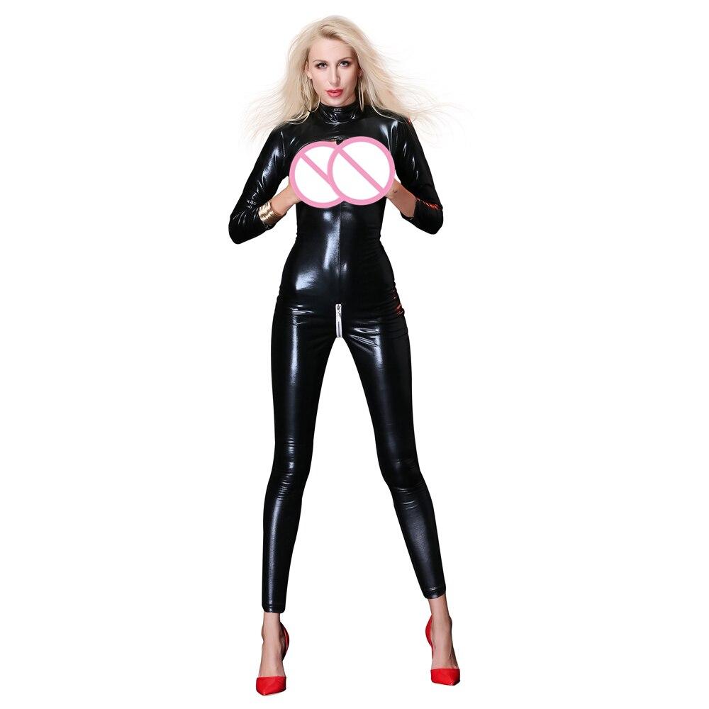 f53920ab66d1 Cheap Mujeres Sexy Lencería mono negro vestido de látex de fiesta fetiche  PVC Lencería erótica disfraces