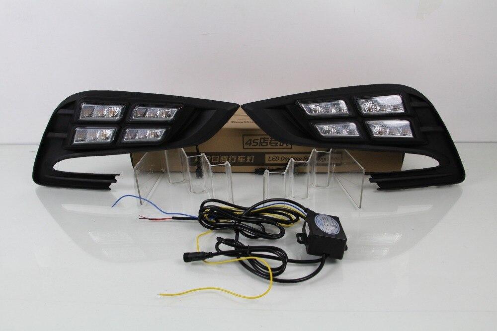 OsMrk DRL светодиодные фары дневного света для Опель МОККА биса Buick 2017 2018 с желтый сигнал поворота, беспроводное управление