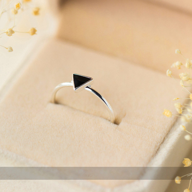 INZATT Real 925 Sterling Silver Geometric Black Enamel Triangle OL Adjustable Ring Minimalist Fine Jewelry For Women Party Gift 3