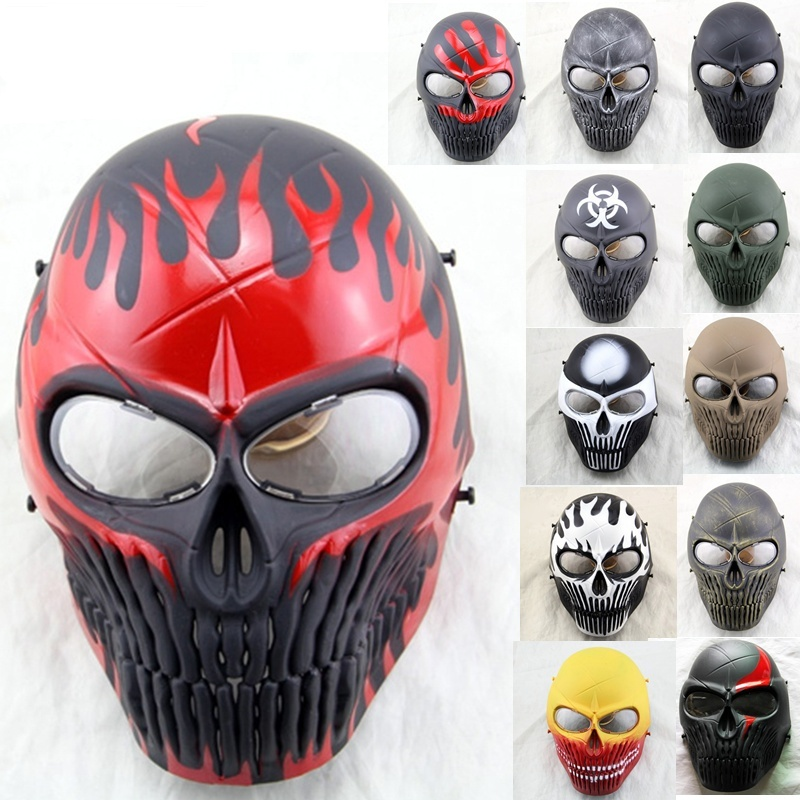 ZJZ03 Tactical Skull Full Face Protective Airsoft Mask With Lens Military Wargame Paintball Hunting Halloween Party Cosplay ...