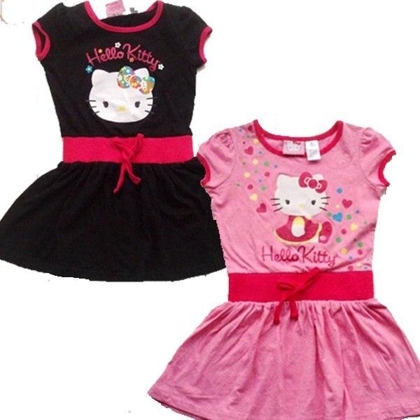 wholesale branded 2012 dress children/girl's cartoon Hello Kitty cat clotthes short sleeve cotton dresses mix orde free ship