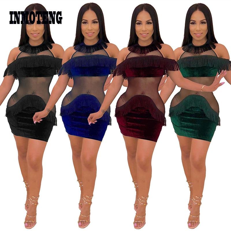adc3a9c61b INMOTENG Sheer Mesh Patchwork Velvet Tassel Dress Women Sexy Halter Off  Shoulder Bodycon Mini Party Dresses