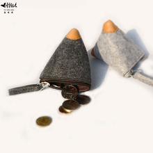 Cheap Fashion Coin Purse Wallet Women Men Coin Purses Wool Triangle Coin Small Change Pouch Bag Wallets free shipping