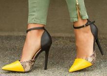 Lo nuevo Sexy Dedo Del Pie Puntiagudo Zapatos de Tacón Alto de piel de Serpiente Patchwork de Cuero de Mujer Correa Del Tobillo Bombas de Verano Recortes Tacones de Aguja