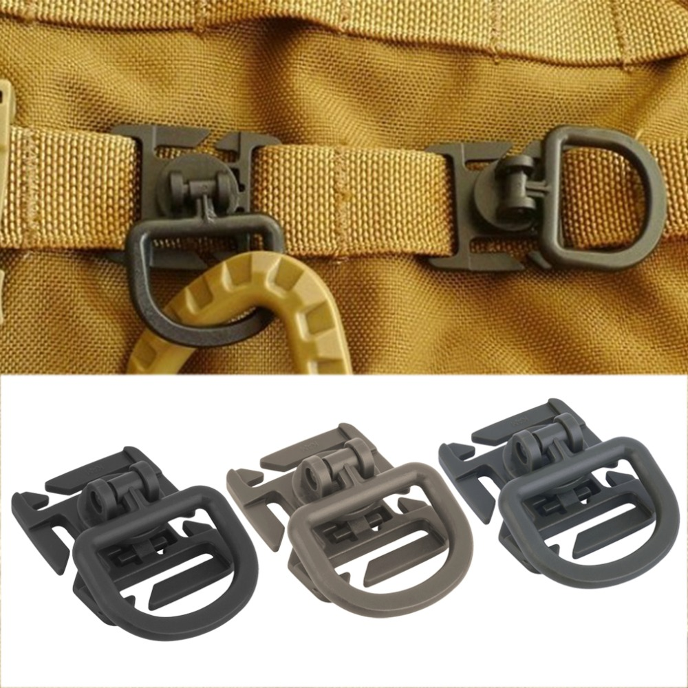 10Pcs 25mm Molle Tactical 360 Rotation D Ring Backpack