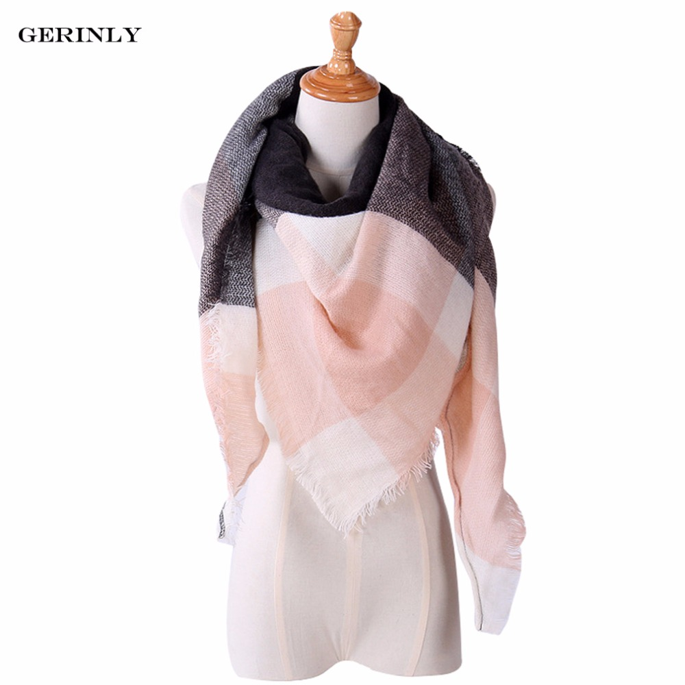 GERINLY New Fashion Winter Plaid Scarf Women Warm Scarf ...