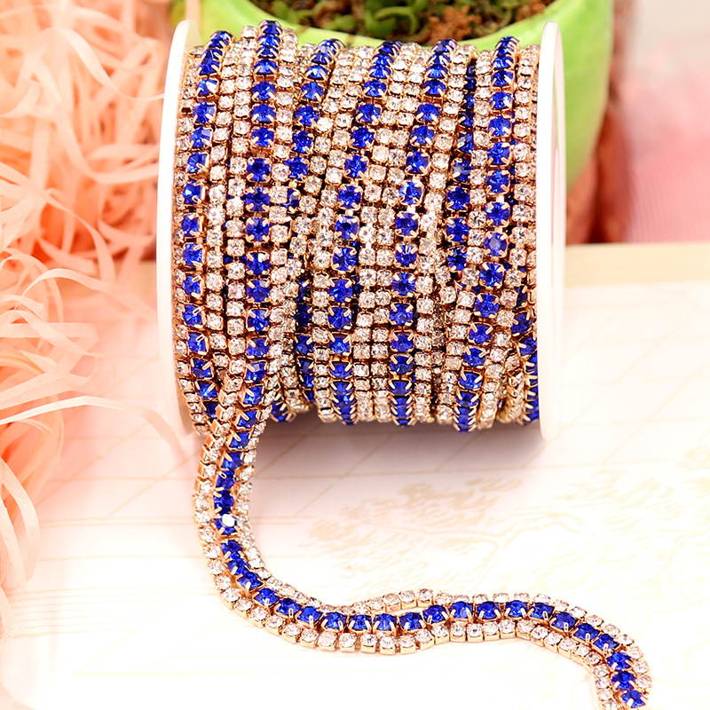 1Yard 9MM Crystal Chain Trim Colorful Rhinestones in 3 Rows Accessory DIY Dress Bags Jewelry Making Bracelet Necklace
