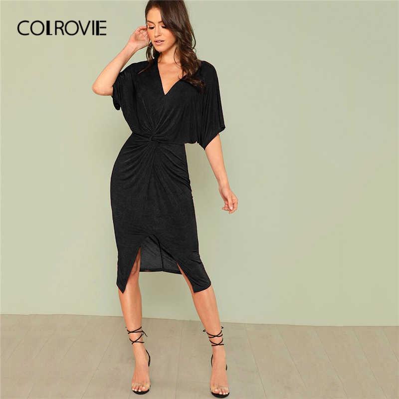 COLROVIE Red V шеи твист спереди с рукавами средней длины, с разрезами сексуальное облегающее платье Осенняя коллекция черные элегантные миди вечерние платья женские платья