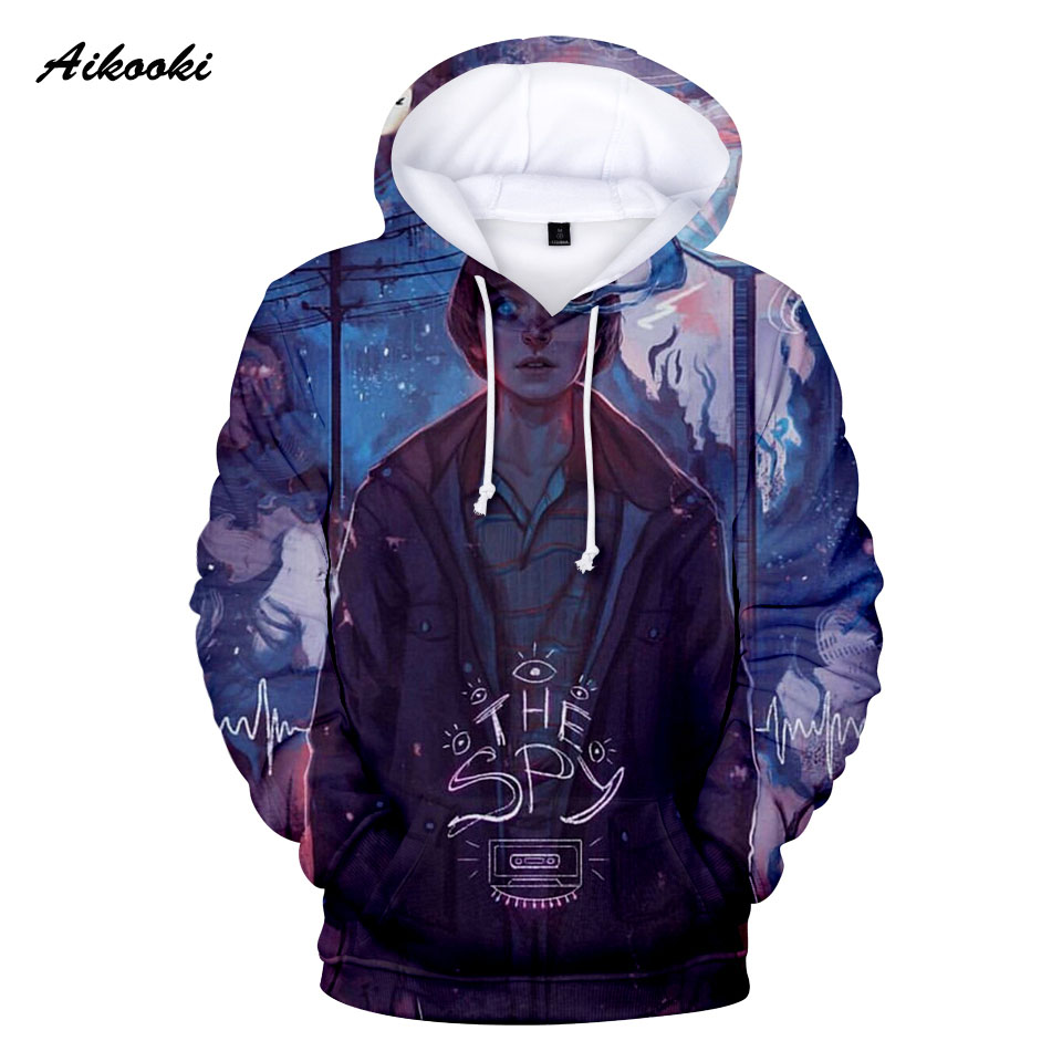 Aikooki 3D stranger things hoody print 3d boys/girls hooded anime men hoodie male sweatshirt hoddies 3d print pullover hoodies