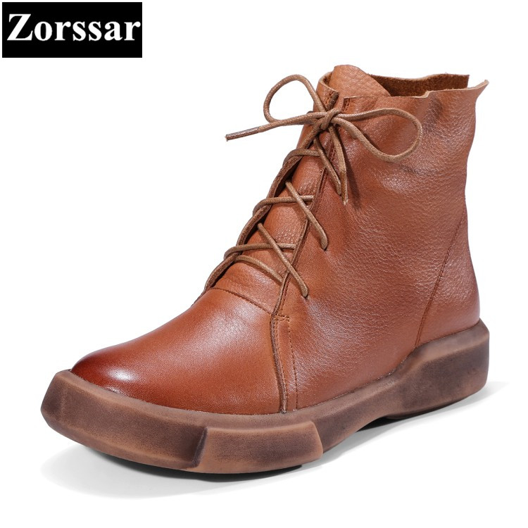 {Zorssar} 2017 NEW fashion Casual Flat heel short Boots woman Genuine leather lace up women ankle boots Mother shoes front lace up casual ankle boots autumn vintage brown new booties flat genuine leather suede shoes round toe fall female fashion