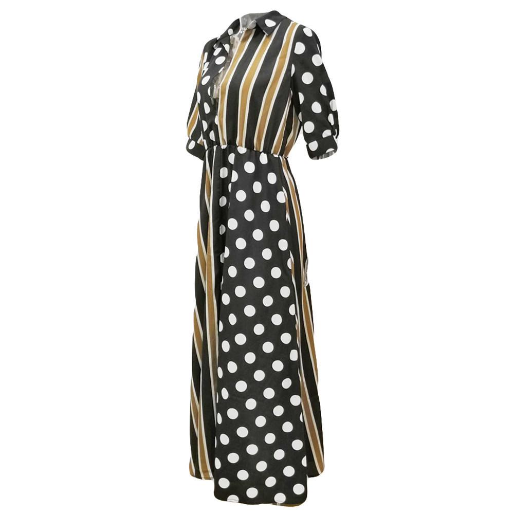 Womens Boho Half Sleeve Wave Point Fashion Ladies Casual Evening Paty Long Dress Elegant Dot and