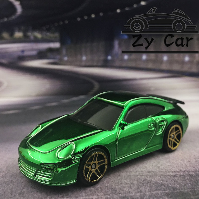 Porsche 911 Gold Plated Metal Model Car Kids Toys Christmas Gift Birthday Present Pocket Sports Collect Decoration