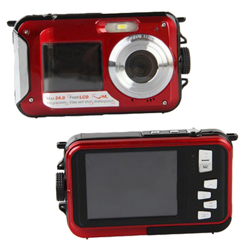 24MP DOUBLE SCREEN NUDERWATER DIGITAL VIDEO CAMERA HD 1080P 10M WATERPROOF RED