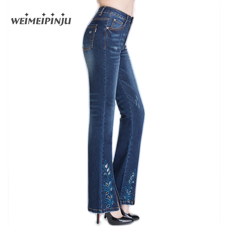 Women Jeans Autumn Winter New Fashion Retro Embroidery Floral Denim Flare Pants Soft Stretch Female Trousers Plus Size 26-36