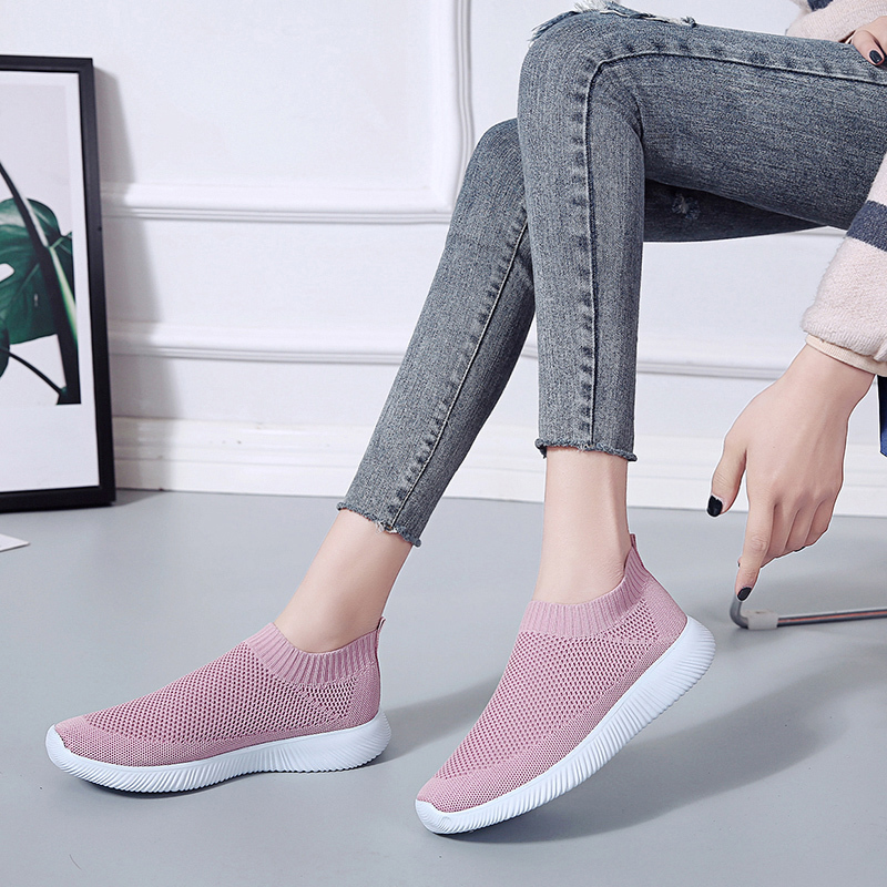 Lucyever Plus Size Women Summer Sneakers Knitting Sock Female Vulcanized Shoes Casual Slip On Flat Shoe Mesh Breathable Footwear