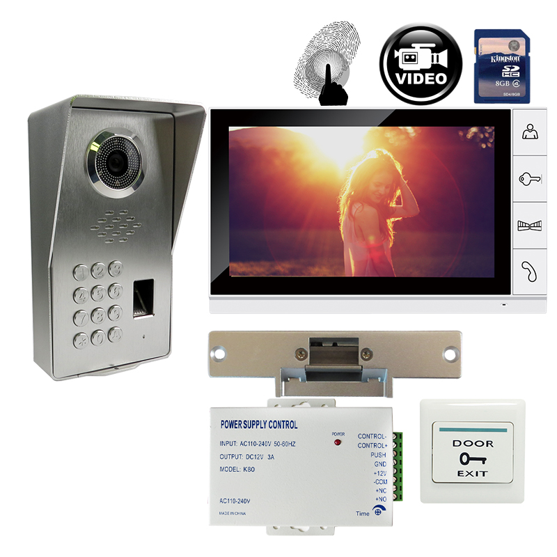 FREE SHIPPING 9 Monitor Record Video Intercom Door Phone System + Waterproof Fingerprint Code Keypad Door Camera Strike E-Lock grenseure free shipping 9 lcd monitor video intercom door phone system rfid code keypad outdoor camera electromagnetic lock