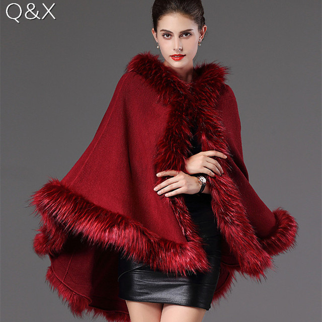 SC84 2017 Plus Size Women Winter Shawl Fake Fox Fur Collar Wool Cashmere Loose Poncho Capes Knit Cardigan Sweater Coat With Hat