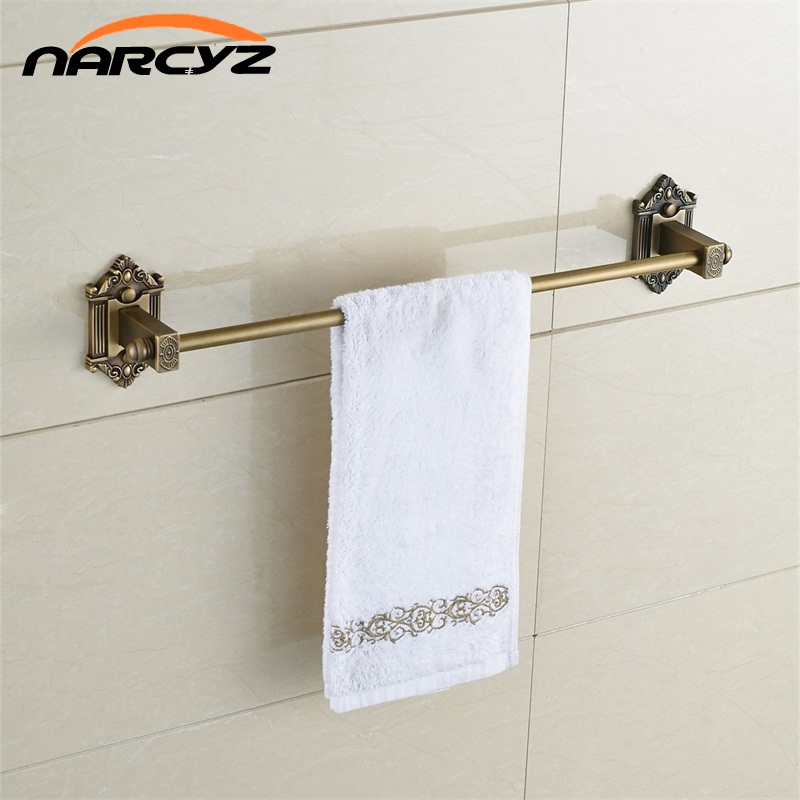 Towel Bars Single Rail Antique Solid Brass Wall Shelf Towel Rack Hanger Bath Shelves Bathroom Accessories Towel Holder 9127K xogolo antique solid brass wall mounted bath towel rack wholesale and retail towel shelf double layer towel hanger accessories