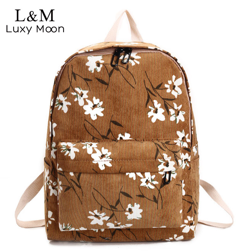 Preppy Style Flowers Printing Backpack Women Corduroy Backpack School Bags For Teenager Girls Student Travel Bag Rucksack XA899H harajuku style ice cream printing backpack high middle school student shoulder bag backpack for teenager girls casual travel bag