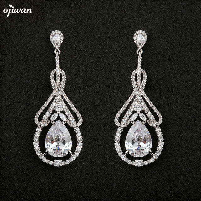 Ojiwan Bridal Earrings Wedding Jewelry Zircon Cz Prom Chandelier Statement