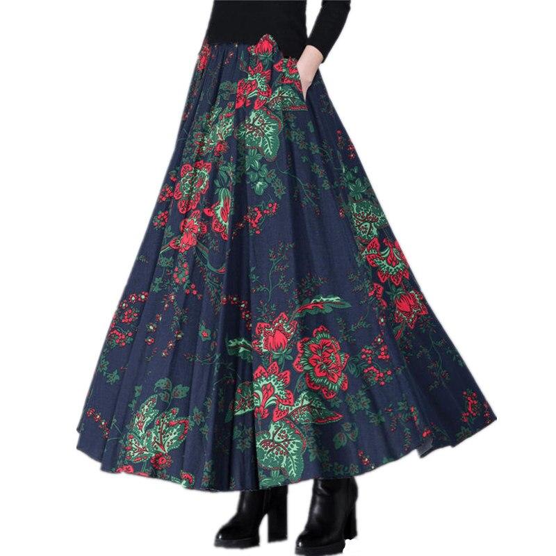 Printemps automne longue jupe femmes Vestidos décontracté Slim coton lin imprimé grande taille Maxi jupe élégante Vintage poche jupes Q629