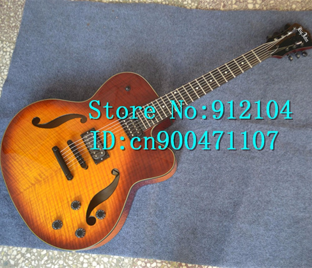 free shipping new Big John hollow F hole 7 strings electric guitar with tiger stripes mahogany body in sunburst F 3068 3069