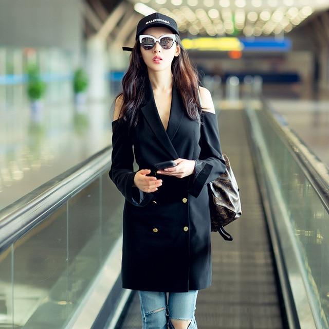 Black Sexy Elegant Women Blazer Dress Suit Autumn Double Breasted