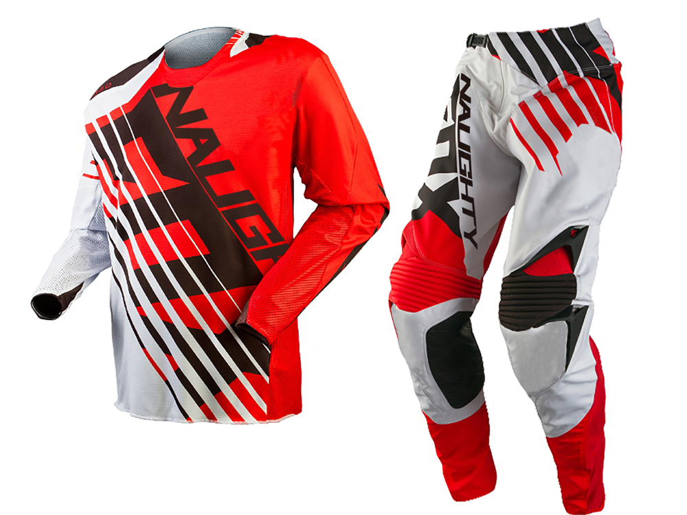 Free Shipping 2018 NAUGHTY 2018 MX 360 SAVANT RED / WHITE Jersey Pants Combo Motocross Suit Dirt Bike Off-road MX Race Gear