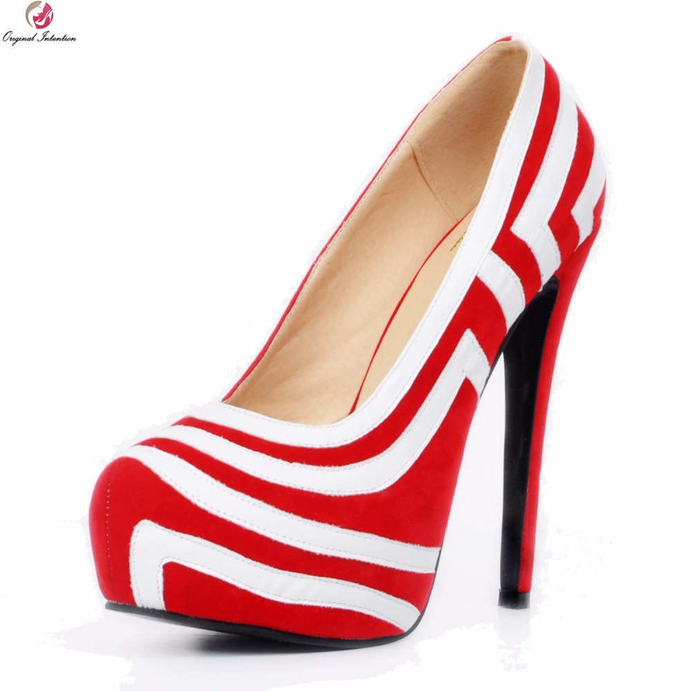 Original Intention New Fashion Women Pumps Platform Round Toe Thin High Heels Pumps Nice Black Red Shoes Woman Plus US Size 4-20 аккумулятор для камеры pitatel seb pv012
