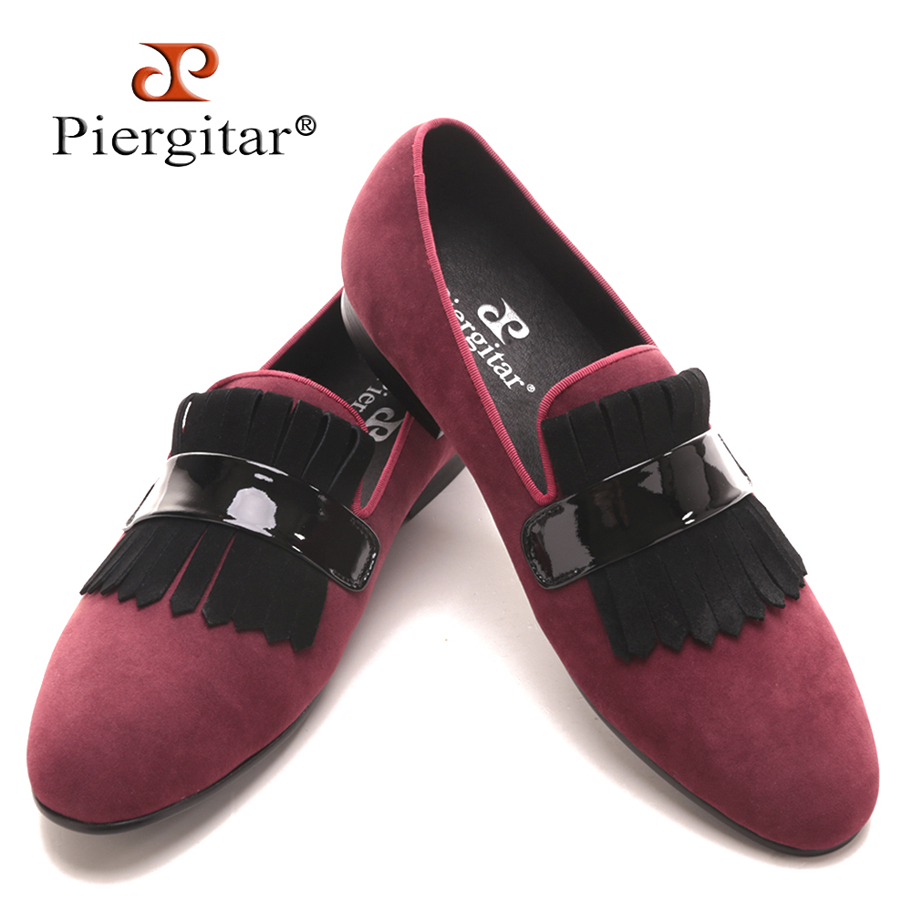 Piergitar Handmade Men red velvet  classic loafers with large suede fringed Fashion Party and Banquet men's flats dress shoes piergitar 2016 new india handmade luxurious embroidery men velvet shoes men dress shoes banquet and prom male plus size loafers