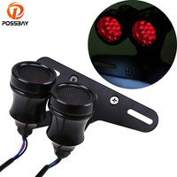 POSSBAY Black Motorcycle LED Taillight Double Scooter Rear Brake Lamps With License Plate Mounting Bracket Universal
